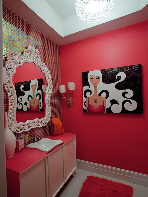 SaveEmail. Red Bathroom Walls Design Ideas  amp  Remodel Pictures   Houzz