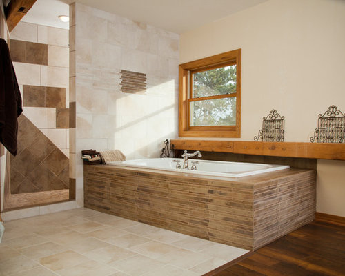 example of an eclectic brown tile and matchstick tile bathroom design in other - Matchstick Tile Bedroom Decor