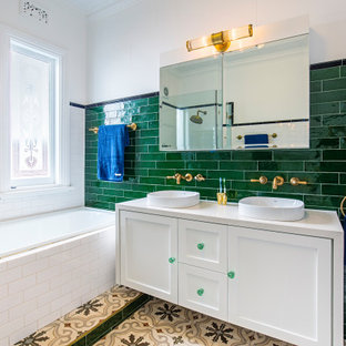 Photo of an eclectic bathroom in Sydney with a double vanity and a floating vanity.