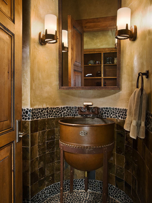 Steampunk tile houzz for Rustic half bath ideas