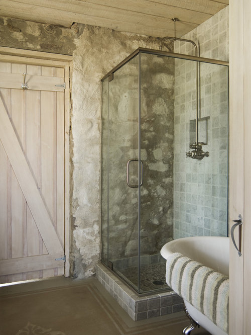 Interior Cottage Bathroom cottage bathroom houzz mountain style concrete floor claw foot bathtub photo