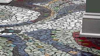 Eclectic Bathroom Mosaic Floor Design