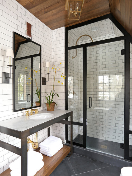 Transitional Subway Tile Bathroom Idea In Chicago