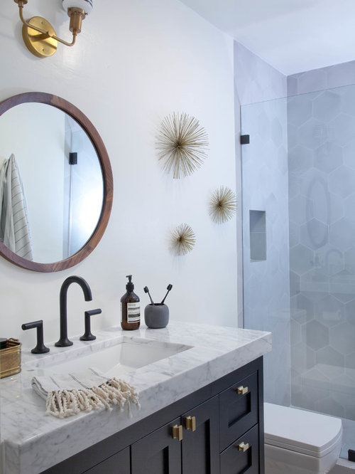 Eclectic Bathroom Design Ideas Renovations Photos With Cement Tiles