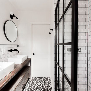 Bathroom   Industrial White Tile And Subway Tile Cement Tile Floor And  Multicolored Floor Bathroom Idea