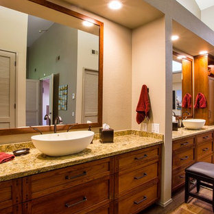 Example of a huge eclectic master beige tile and porcelain tile medium tone wood floor and brown floor bathroom design in Sacramento with shaker cabinets, beige walls, a vessel sink, quartz countertops, a hinged shower door and brown countertops
