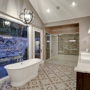 Salle de bain campagne avec une douche double : Photos et ...
