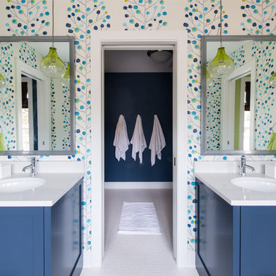 Transitional kids' white tile bathroom photo in Minneapolis with an undermount sink, shaker cabinets, blue cabinets and multicolored walls