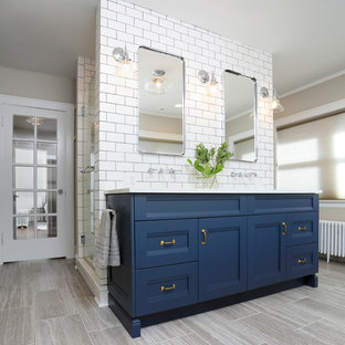 Eclectic Navy and White Master Bathroom