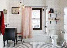 Vintage bathroom - beautiful! What is the floor tile?