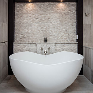 75 beautiful beige tile bathroom with black cabinets