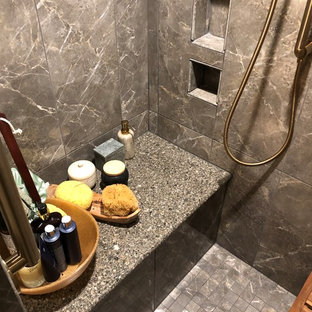 Small eclectic 3/4 gray tile and ceramic tile ceramic floor and gray floor alcove shower photo in Other with furniture-like cabinets, distressed cabinets, a one-piece toilet, green walls, a drop-in sink, granite countertops and gray countertops