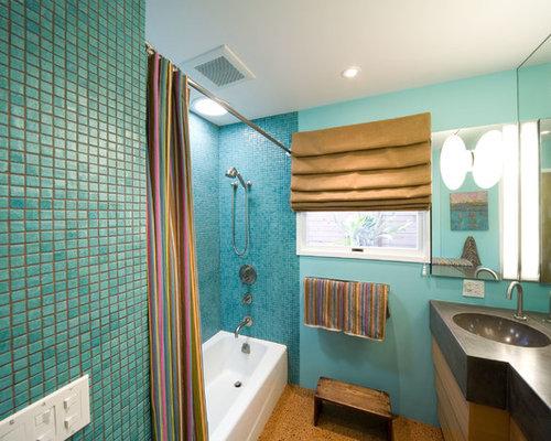 badezimmer mit korkboden und mosaikfliesen ideen design bilder houzz. Black Bedroom Furniture Sets. Home Design Ideas