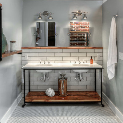 Large urban master white tile and subway tile mosaic tile floor bathroom photo in Omaha with open cabinets, medium tone wood cabinets, a one-piece toilet, gray walls, an undermount sink and marble countertops