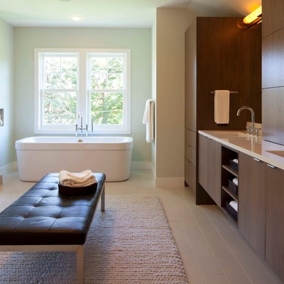 Inspiration for a contemporary freestanding bathtub remodel in Minneapolis