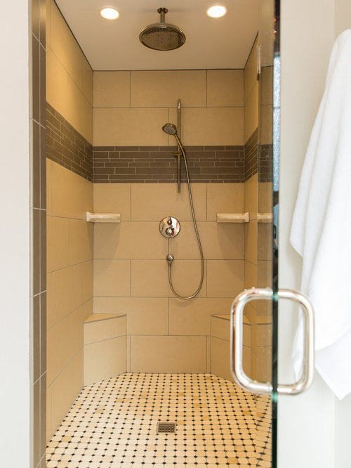 Example Of A Mid Sized Classic Master Beige Tile And Porcelain Tile Alcove  Shower Design