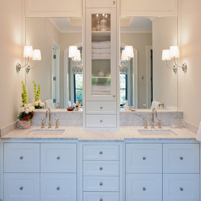 Large transitional master gray tile and marble tile bathroom photo in Grand Rapids with marble countertops, shaker cabinets, white cabinets, beige walls and an undermount sink