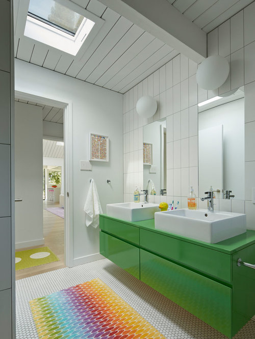 Inspiration for a 1950s kidsu0027 white tile bathroom remodel in San Francisco with a vessel & Eichler Lighting | Houzz azcodes.com