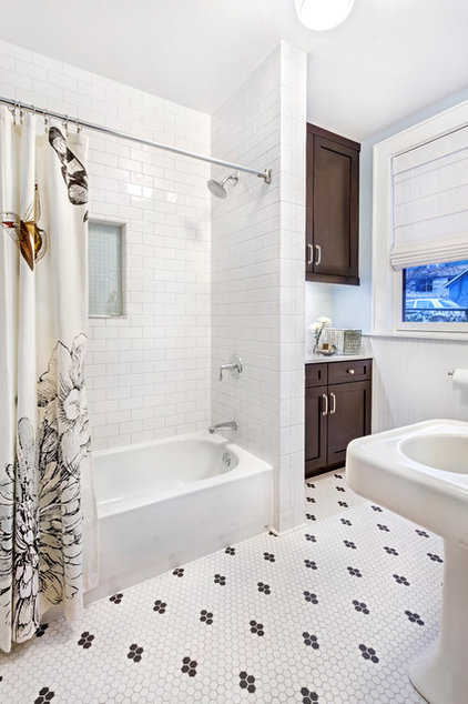 Transitional Bathroom by Open Door Architecture