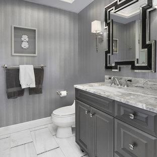 Diseño de cuarto de baño clásico con armarios con paneles con relieve, puertas de armario grises, sanitario de una pieza, paredes grises y lavabo bajoencimera