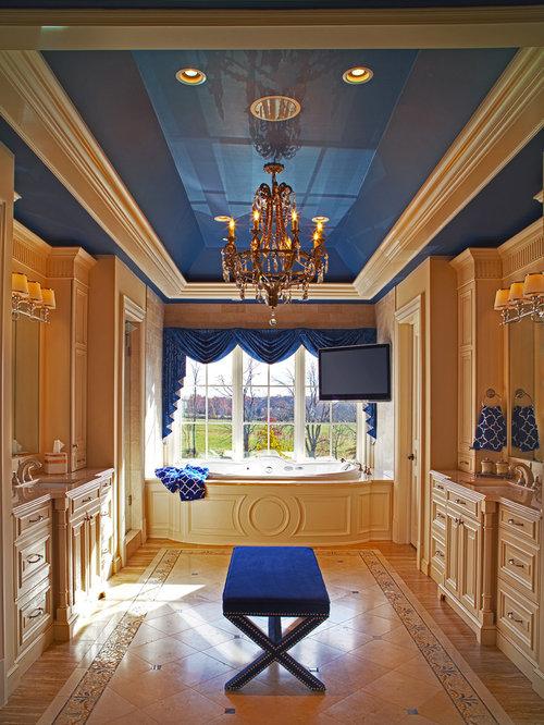 Huge Elegant Master Multicolored Tile And Porcelain Tile Ceramic Floor  Tub/shower Combo Photo In