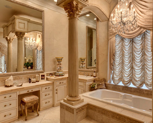 Traditional bathroom idea in Other with raised panel cabinets  beige  cabinets  a dropElegant Bathroom   Houzz. Elegant Bathroom Designs Pictures. Home Design Ideas