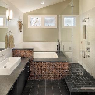 Bathroom - contemporary mosaic tile bathroom idea in San Francisco with a vessel sink