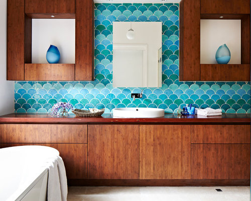 Fish scale tiles houzz for Fish scale tiles bathroom