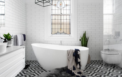 13 Bathrooms With Stunning Geometric Floor Tiles