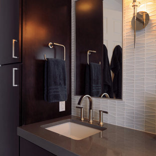 Large trendy marble floor bathroom photo in DC Metro with flat-panel cabinets and dark wood cabinets