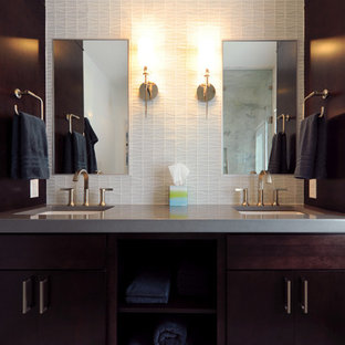 Inspiration for a large contemporary marble floor bathroom remodel in DC Metro with flat-panel cabinets and dark wood cabinets