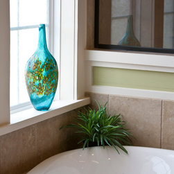Emerald Ocean Classic Vase - Emerald Ocean Art Glass vase by Wimberley Glassworks bathroom featured in the Texas Casual Cottages model homes by Trendmaker Homes.  Photography by David Omer Photography.