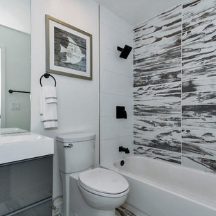 Bathroom Small Modern Porcelain Tile Gray And White Floor Idea