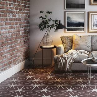 Idéer för att renovera ett amerikanskt badrum, med rosa kakel, klinkergolv i porslin och lila golv