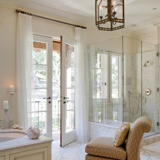 Inspiration for a timeless mosaic tile alcove shower remodel in San Francisco