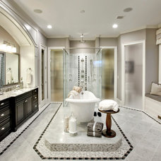 Transitional Bathroom by Possibilities for Design Inc.