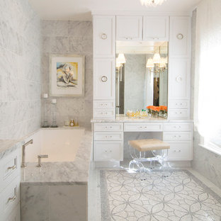 Transitional gray tile and mosaic tile mosaic tile floor bathroom photo in Austin with recessed-