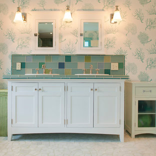 Example of a mid-sized classic kids' multicolored tile and mosaic tile bathroom design in Boston with tile countertops, multicolored walls, recessed-panel cabinets and white cabinets
