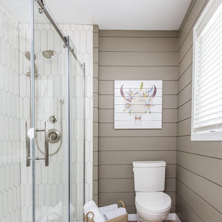 Example Of A Minimalist White Tile And Porcelain Tile Brown Floor Bathroom  Design In Toronto With