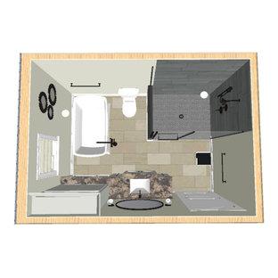 Diseño de cuarto de baño principal, contemporáneo, pequeño, con armarios estilo shaker, puertas de armario grises, bañera exenta, ducha esquinera, sanitario de dos piezas, baldosas y/o azulejos blancos, baldosas y/o azulejos de mármol, paredes grises, suelo vinílico, lavabo bajoencimera, encimera de granito, suelo gris, ducha con puerta con bisagras y encimeras grises