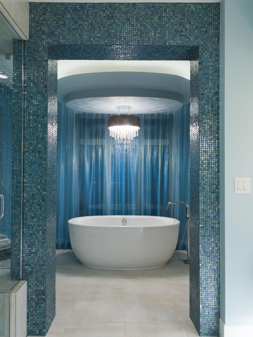 inspiration for a contemporary blue tile and mosaic tile freestanding bathtub remodel in other - Small Luxury Bathroom Designs