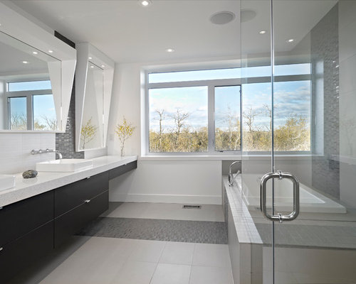 Inspiration For A Contemporary Bathroom Remodel In Edmonton With A Vessel  Sink