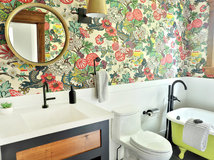 Elegant  Bathroom Renovation Cheerful Color in a Farmhouse Bathroom