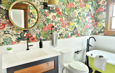 Before and After: Cheerful Color in a Farmhouse Bathroom
