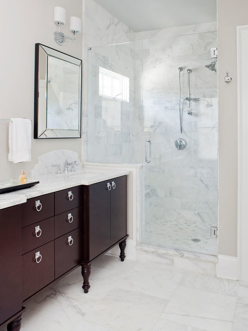 Best White Marble Shower Design Ideas & Remodel Pictures | Houzz