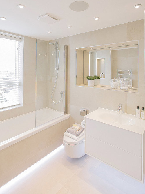 Inspiration For A Medium Sized Contemporary Family Bathroom In London With White Cabinets Built