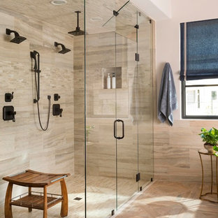 Large tuscan master walk-in shower photo in Dallas with a hinged shower door