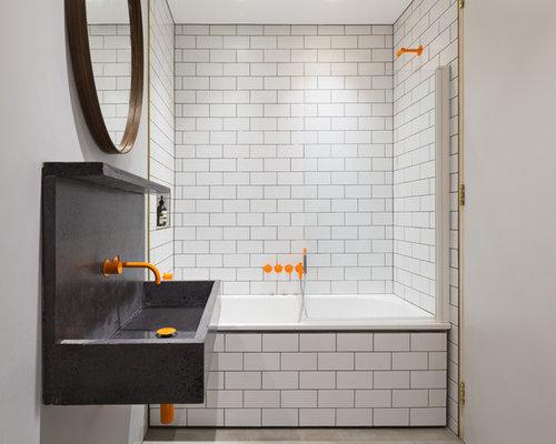 photo of a medium sized contemporary bathroom in london with a built in bath - Bathroom Ideas Metro Tiles