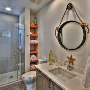Example of a trendy bathroom design in Austin with an undermount sink
