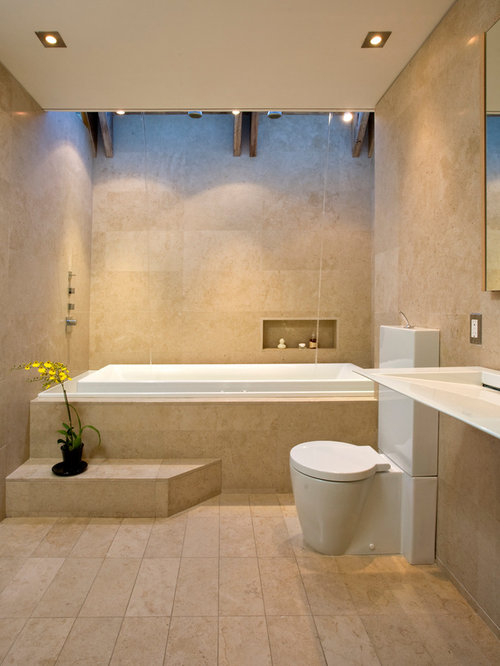 contemporary tub shower combo idea in san francisco with a wall mount